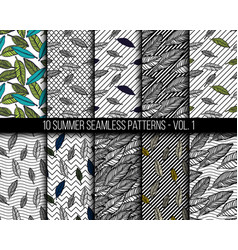 tropical seamless patterns set vector image