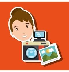 Woman photo camera graphic vector