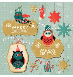 Set of Vintage Christmas and New Year elements wit vector image