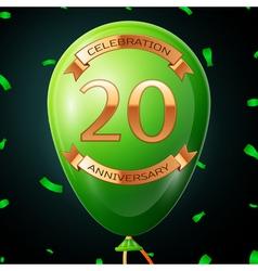 Green balloon with golden inscription twenty years vector