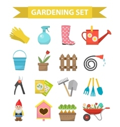 Gardening icon set flat style garden and orchard vector