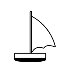 Sailboat recreation travel line vector