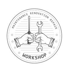 repair service workshop emblem - hands with spanne vector image