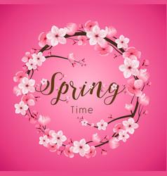 Cherry blossom spring time realistic sakura vector