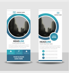 Blue circle roll up business brochure flyer banner vector