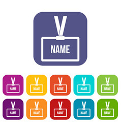 Plastic name badge with neck strap icons set vector