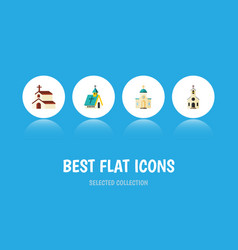 Flat icon church set of religious architecture vector