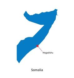 Detailed map of somalia and capital city mogadishu vector