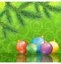 Christmas background with branches and balls vector