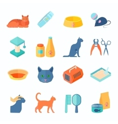 Healthy indoor cat flat icons set vector