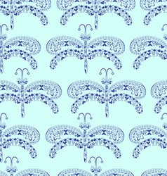 The graphic pattern of blue dragonflies on a blue vector