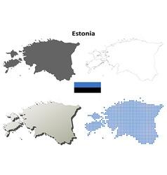 Estonia outline map set vector