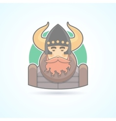 Viking sea king scandinavian man icon vector
