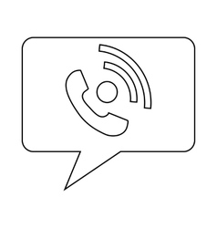 Speech bubble with handset inside icon vector