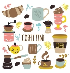 Coffee time hand drawn design vector