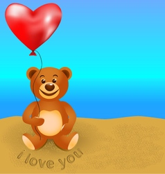 -teddy bear with a balloon vector
