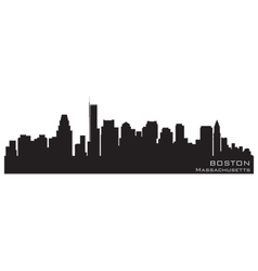 boston massachusetts skyline detailed silhouette vector image