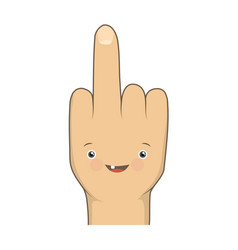 cartoon funny middle finger vector image