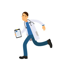 cartoon male doctor in white medical robe with vector image vector image