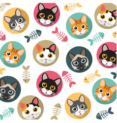Cats and fishbone pattern vector