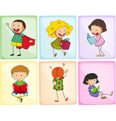 children doing different actions vector image
