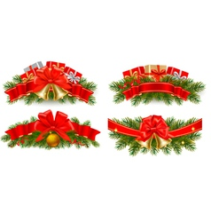 christmas garlands vector image vector image