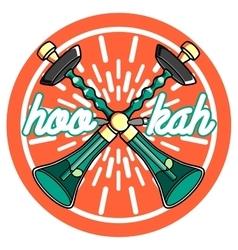 Color vintage hookah emblem vector image vector image