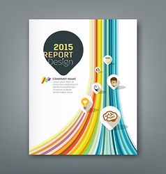 Cover report colorful lines shapes vector image vector image