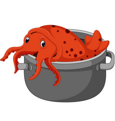 Cute squid cartoon vector