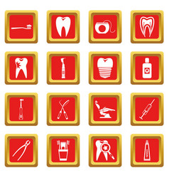 Dental care icons set red vector