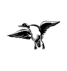 Duck flying done in woodcut style vector