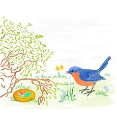Easter bird with daffodils and easter eggs vector