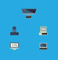 Flat icon laptop set of display computer vector