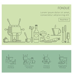 Fondue set of linear icons vector