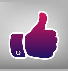 hand sign purple gradient vector image vector image