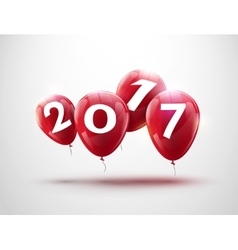 Happy new year 2017 red balloons design greeting vector