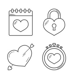 Heart line icons vector