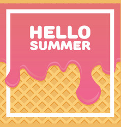 hello summer letters in ice cream pattern cream vector image vector image