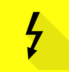 High voltage danger sign black icon with flat vector