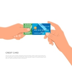 Human hand holding bank credit card and cash money vector