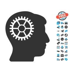 Intellect cog icon with free bonus vector