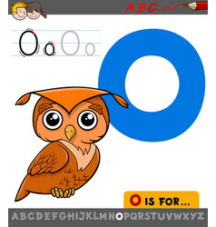 Letter o with cartoon owl bird vector