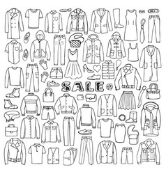 man and woman hand drawn clothes sale vector image