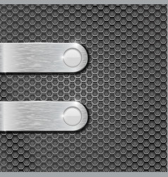 metal perforated background with brushed steel vector image vector image