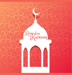 Mosque design in beautiful floral background vector
