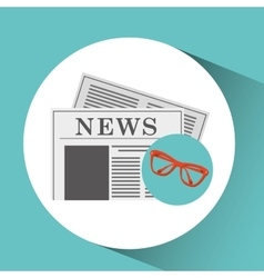 News paper cup coffee and glasses design vector