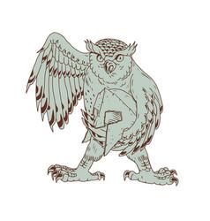 Owl holding spartan helmet drawing vector