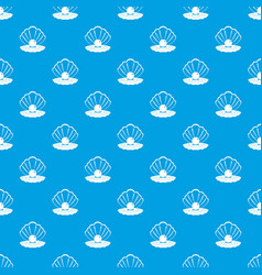 pearl in a sea shell pattern seamless blue vector image