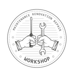 repair service workshop emblem - hands with spanne vector image