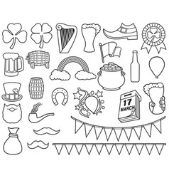 saint patrick day thin line icons vector image vector image